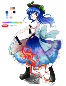 Rating: Safe Score: 0 Tags: 1girl black_boots blue_bow blue_eyes blue_hair blush boots bow color_guide dress fire food frilled_dress frills fruit full_body hat hinanawi_tenshi huyusilver leaf long_hair looking_at_viewer multicolored_eyes oota_jun'ya_(style) parody peach pink_eyes puffy_short_sleeves puffy_sleeves rock short_sleeves simple_background smile solo style_parody sword sword_of_hisou touhou_project weapon white_background User: DMSchmidt