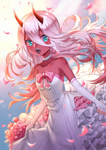 Rating: Safe Score: 2 Tags: 1girl absurdres bare_shoulders boku_koyuki_mx bow breasts bride choker cloud collarbone darling_in_the_franxx dress elbow_gloves eyebrows_visible_through_hair flower frilled_dress frills gloves green_eyes hair_between_eyes highres horns looking_at_viewer open_mouth petals pink_bow red_skin sky sleeveless sleeveless_dress small_breasts solo strapless strapless_dress wedding_dress white_choker white_dress white_gloves zero_two_(darling_in_the_franxx) User: DMSchmidt