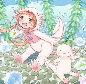 Rating: Safe Score: 0 Tags: 1girl :3 :d air_bubble animal animal_costume axolotl axolotl_costume bangs blunt_bangs bow brown_eyes brown_hair bubble gum_(vivid_garden) hood ichihara_nina idolmaster idolmaster_cinderella_girls long_hair looking_at_viewer open_mouth outstretched_arm seaweed smile spread_arms underwear User: Domestic_Importer