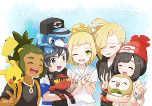 Rating: Safe Score: 0 Tags: 2girls 3boys :3 ahoge anniversary backpack bag bangs baseball_cap beanie black_eyes black_hair black_shirt blonde_hair blue_background blue_hat blue_shirt blush_stickers bracelet braid brown_eyes brown_skin chestnut_mouth closed_eyes collarbone copyright_name creatures_(company) dark_skinned_male ear_piercing english flat_chest floral_print french_braid game_freak gen_1_pokemon gen_7_pokemon gladio_(pokemon) green_eyes green_hair grey_eyes hair_ornament hair_over_one_eye half-closed_eyes hand_on_hip hand_up hands_up happy hat hau_(pokemon) highres holding holding_pokemon hood hoodie jewellery light_blush lillie_(pokemon) litten looking_at_viewer looking_down looking_up matching_hair/eyes miu_(miuuu_721) mizuki_(pokemon) multiple_boys multiple_girls nintendo one_eye_closed open_mouth outline piercing pikachu pleated_skirt poke_ball_symbol poke_ball_theme pokemon pokemon_(creature) pokemon_(game) pokemon_on_head pokemon_on_shoulder pokemon_sm ponytail popplio red_eyes red_hat rowlet shiny shiny_hair shirt short_hair short_sleeves skirt smile standing striped striped_shirt sweat swept_bangs teeth tied_hair tied_shirt topknot upper_body v w white_outline white_shirt white_skirt yellow_sclera you_(pokemon) z-ring User: DMSchmidt