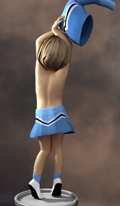 Rating: Questionable Score: 3 Tags: 1girl 3dcg ankle_socks arms_over_head blonde_hair cheerleader clothes_removed from_behind highres mieletvenin photorealistic shoes short_hair skirt socks solo standing stool striptease tiptoes topless undressing User: Software