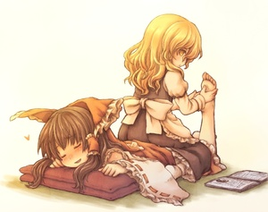 Rating: Safe Score: 0 Tags: 2girls barefoot blonde_hair book bow brown_hair closed_eyes detached_sleeves foot_massage from_behind hair_bow hair_tubes hakurei_reimu happy heart karioda kirisame_marisa long_hair multiple_girls pillow sitting sitting_on_person smile socks toes touhou_project yellow_eyes User: DMSchmidt