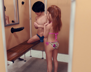 Rating: Explicit Score: 62 Tags: 1girl 2boys 3dcg ass bare_arms bare_legs bare_shoulders brown_hair brown_skin changing_room dark_skinned_male erection glory_hole highres long_hair mirror multiple_boys multiple_penises nipples original penis photorealistic red_hair reflection sabine_heinrich short_hair shota size_difference standing swimsuit uncensored User: Domestic_Importer