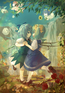 Rating: Safe Score: 0 Tags: 5girls absurdres blue_bow blue_eyes blue_hair blue_skirt blue_sky blue_vest blurry bobby_socks bokeh bow brown_footwear cirno daiyousei dancing day depth_of_field ekaapetto eye_contact fairy_wings flower flying green_eyes green_hair hair_ribbon hand_on_another's_back highres holding holding_flower holding_hands interlocked_fingers kedama leg_lift looking_at_another mary_janes multiple_girls open_mouth outdoors pillar poppy_(flower) red_hair ribbon shoes short_hair side_ponytail skirt skirt_set sky smile socks standing standing_on_one_leg sunflower_fairy tombstone touhou_project two_side_up vest water waterfall white_legwear wings yellow_bow yuri User: DMSchmidt