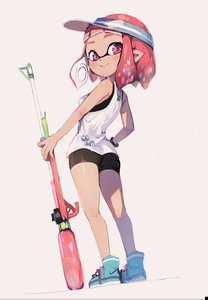 Rating: Safe Score: 0 Tags: 1girl bangs bare_legs bare_shoulders blunt_bangs blush breasts brown_skin closed_mouth domino_mask from_side full_body hand_on_hip hat highres inkling legs looking_at_viewer looking_back mask medium_breasts pink_eyes pointy_ears red_hair shoes short_eyebrows smile solo spats splatoon splatoon_2 sprbouuz super_soaker tank_top visor_cap weapon wristband User: DMSchmidt
