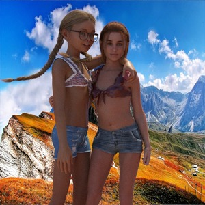 Rating: Safe Score: 12 Tags: 2girls 3dartgirls 3dcg braid denim denim_shorts flat_chest glasses multiple_girls navel photorealistic shorts smile standing twin_braids twin_tails User: fantasy-lover