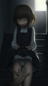 Rating: Questionable Score: 3 Tags: 1girl black_dress brown_hair cameltoe closed_eyes dress dress_lift hands henkyuu lifted_by_self open_mouth original pantsu pinafore_dress shirt short_hair solo stairs tears underwear white_pantsu white_shirt User: Domestic_Importer