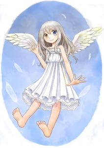 Rating: Safe Score: 0 Tags: 1girl angel_wings barefoot blue_eyes blush dress feathers feet grey_hair heterochromia index_finger_raised long_hair looking_at_viewer open_hand original petticoat smile soles solo wavy_hair white_dress wings yellow_eyes yuyuzuki_(yume_usagi) User: DMSchmidt