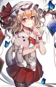 Rating: Safe Score: 0 Tags: 1girl absurdres artist_name blonde_hair bug butterfly character_name collarbone copyright_name cowboy_shot crystal fang_out fishnet_legwear fishnets flandre_scarlet grey_legwear hand_up hat hat_ribbon highres holding holding_stuffed_animal index_finger_raised insect long_hair looking_at_viewer mob_cap puffy_short_sleeves puffy_sleeves red_eyes red_ribbon red_skirt red_vest ribbon shirt short_sleeves skirt skirt_set slit_pupils smile solo stuffed_animal stuffed_bunny stuffed_toy thighs touhou_project twitter_username unity_(ekvmsp02) vest white_hat white_shirt wings wrist_cuffs User: DMSchmidt