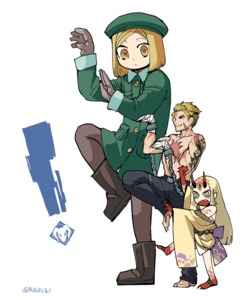 Rating: Safe Score: 0 Tags: ! 1boy 2girls arms_up bandage belt beowulf_(fate/grand_order) beret blonde_hair boots cuffs fate/grand_order fate_(series) giantess gloves green_coat hat height_difference ibaraki_douji_(fate/grand_order) japanese_clothes kimono long_hair looking_at_another looking_to_the_side mado_(mukade_tou) multiple_girls oni_horns paul_bunyan_(fate/grand_order) scar shackles short_hair standing standing_on_one_leg tattoo twitter_username white_background yellow_eyes yotsubato! yotsubato!_pose User: Domestic_Importer