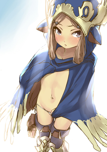 Rating: Questionable Score: 2 Tags: 1girl bangs blue_cape blue_eyes blue_legwear breasts cape cloak collarbone embarrassed from_above granblue_fantasy hair_ornament hairclip harvin highres hood hooded_cloak light_brown_hair long_hair looking_at_viewer milleore navel nekotama1987 parted_bangs pointy_ears small_breasts thighs tsurime User: DMSchmidt
