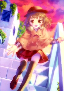 Rating: Safe Score: 0 Tags: 1girl absurdres black_legwear blush brown_eyes brown_hair checkered cloud cloudy_sky coat hat highres long_sleeves looking_at_viewer open_mouth original outdoors reaching shirt shoes short_hair skirt sky smile solo stairs sunset takoyaki_(roast) thighhighs walking User: Domestic_Importer