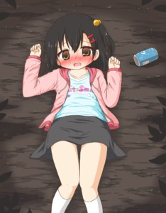 Rating: Safe Score: 3 Tags: 1girl animated black_hair black_skirt blinking blue_shirt blush breathing brown_hair can d: embarrassed flat_chest gif hair_bobbles hair_ornament hood hood_down hoodie long_sleeves lying medium_hair nose_blush on_back on_ground open_clothes open_hoodie open_mouth original pink_hoodie rinechun shirt skirt soda_can sweat User: Domestic_Importer