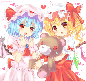 Rating: Safe Score: 0 Tags: 2girls artist_name ascot bangs bat_wings blonde_hair blue_hair blue_nails blush bow cowboy_shot crystal dress eyebrows_visible_through_hair fang flandre_scarlet frilled_bow frilled_ribbon frilled_shirt_collar frills hair_between_eyes hands_up hat hat_bow hat_ribbon head_tilt heart heart-shaped_pupils highres holding holding_stuffed_animal looking_at_viewer mob_cap multiple_girls nail_polish one_side_up open_mouth pink_dress pink_hat puffy_short_sleeves puffy_sleeves ramudia_(lamyun) red_bow red_eyes red_nails red_neckwear red_ribbon red_skirt red_vest remilia_scarlet ribbon ribbon-trimmed_bow ribbon_trim short_hair short_sleeves siblings simple_background sisters skirt skirt_set standing stuffed_animal stuffed_toy symbol-shaped_pupils teddy_bear touhou_project twitter_username vest white_background white_hat wings wrist_cuffs User: DMSchmidt