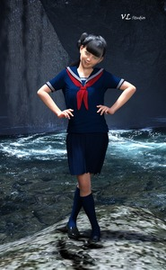 Rating: Safe Score: 3 Tags: 1girl 3dcg bangs black_hair black_shoes blunt_bangs green_eyes hands_on_hips looking_at_viewer on_rock outdoors photorealistic pond pose sailor_collar school_uniform shoes skirt smile socks standing sunlight virginlover waterfall User: Virginlover