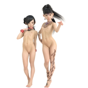Rating: Questionable Score: 24 Tags: 2girls 3dcg asian black_hair breasts closed_mouth collar earrings flat_chest forehead_jewel full_body jewellery legs_together libidoll long_hair looking_at_viewer multiple_girls navel nipple_piercing nude original photorealistic piercing pussy small_breasts stomach tattoo uncensored white_background wirist_cuffs User: Domestic_Importer