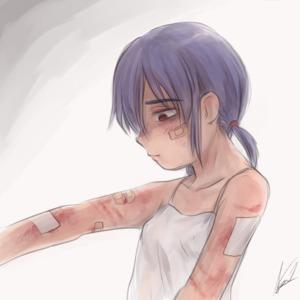 Rating: Safe Score: 2 Tags: 1girl abuse aosora_(mizore) bandages bandaid braid purple_hair red_eyes short_hair solo tank_top twin_braids User: kuro