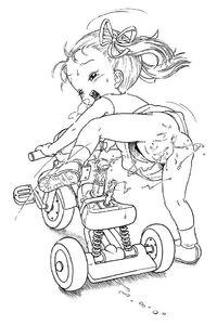Rating: Explicit Score: 11 Tags: 1girl censored copyright_request ironashi monochrome solo toddlercon tricycle User: DMSchmidt