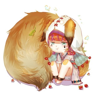 Rating: Safe Score: 0 Tags: 1girl animal_ears crying facial_tattoo food fruit green_eyes hood japanese_clothes komatsumaru_(onmyoji) leaf low_twintails onmyoji red_hair sekai_world simple_background sitting solo tail tattoo twin_tails white_background User: DMSchmidt