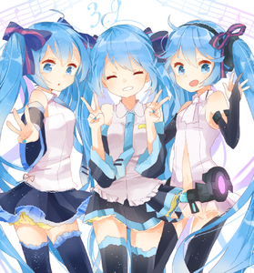 Rating: Safe Score: 1 Tags: 39 3girls blue_eyes blue_hair bridal_gauntlets closed_eyes detached_sleeves double_v grin hair_ribbon hatsune_miku hatsune_miku_(append) highres jimmy long_hair multiple_girls necktie open_mouth ribbon skirt smile thighhighs twin_tails v very_long_hair vocaloid vocaloid_append User: ShizKoE2