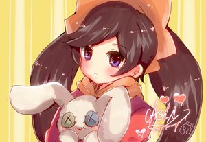 Rating: Safe Score: 1 Tags: 1girl alternate_eye_colour ashley bangs black_hair blush button_eyes character_name closed_mouth dress eyebrows_visible_through_hair hairband heart herunia_kokuoji holding holding_stuffed_animal long_hair long_sleeves looking_at_viewer made_in_wario neckerchief orange_hairband orange_neckwear portrait purple_eyes red_dress signature solo striped stuffed_animal stuffed_bunny stuffed_toy swept_bangs twin_tails vertical-striped_background vertical_stripes yellow_background User: DMSchmidt