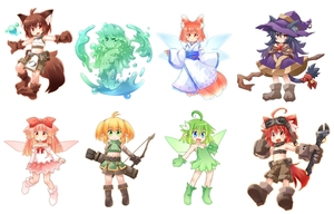 Rating: Safe Score: 1 Tags: 6+girls :d ahoge animal_ears arrow bare_shoulders bell belt_pouch beltbra black_hair blonde_hair blue_eyes boots bow bow_(weapon) brown_eyes brown_hair crop_top detached_sleeves dress elf fairy fairy_wings fang flat_chest fox_ears fox_tail gloves goggles goggles_on_head green_dress green_eyes green_hair hair_bow hat japanese_clothes jingle_bell kimono kso long_hair looking_at_viewer midriff monster_girl multiple_girls navel open_mouth orange_eyes original paws pointy_ears quiver red_eyes red_hair ribbon short_hair shorts simple_background slime slime_girl smile staff tail tail_bell tail_ribbon twin_tails weapon white_background wings witch witch_hat wolf_ears wolf_tail wrench User: Domestic_Importer
