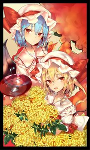 Rating: Safe Score: 0 Tags: 2girls alcohol arm_ribbon ascot bangs bat_wings beige_background black_border blonde_hair blue_hair blush border bow collarbone cup eyebrows_visible_through_hair fang flandre_scarlet flower frilled_shirt_collar frills hair_between_eyes hat hat_bow highres holding holding_cup leaf looking_at_viewer mob_cap multiple_girls open_mouth pointy_ears puffy_short_sleeves puffy_sleeves red_bow red_eyes red_neckwear red_ribbon red_vest remilia_scarlet ribbon sakazuki sake sakusyo short_sleeves siblings sisters touhou_project upper_body vest white_hat wings yellow_flower User: DMSchmidt