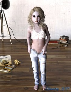 Rating: Questionable Score: 17 Tags: 1girl 3dcg barefoot blonde_hair flat_chest long_hair looking_at_viewer necklace pants_pull photorealistic pose pussy_peek slimdog User: fantasy-lover