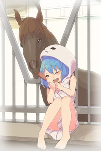 Rating: Safe Score: 2 Tags: 1girl :d aoi_tori barefoot bars blue_hair cheek_licking clenched_hands closed_eyes hood hooded_dress horse knees_touching knees_up laughing licking open_mouth original sitting smile User: TrashBard