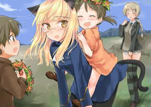 Rating: Safe Score: 2 Tags: 1boy 3girls animal_ears aohashi_ame black_jacket black_legwear black_neckwear black_ribbon blonde_hair blue_jacket blue_sky braid brown_eye lynette_bishop multiple_girls perrine_h_clostermann strike_witches world_witches_series User: Domestic_Importer