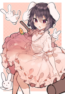 Rating: Safe Score: 1 Tags: 1girl animal animal_ears bangs black_hair blush bunny bunny_ears bunny_girl carrot_necklace chestnut_mouth dress ears_down hair_between_eyes holding_mallet ikeuchi_tanuma inaba_tewi looking_at_viewer mallet medium_hair necklace open_mouth pink_dress puffy_short_sleeves puffy_sleeves red_eyes ribbon-trimmed_skirt ribbon_trim short_sleeves sketch solo touhou_project User: DMSchmidt