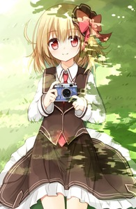 Rating: Safe Score: 0 Tags: 1girl blonde_hair camera dappled_sunlight hair_ribbon long_sleeves looking_at_viewer lying on_back red_eyes ribbon rumia shirt skirt skirt_set smile solo sunlight touhou_project vest yuuhagi_(amaretto-no-natsu) User: DMSchmidt