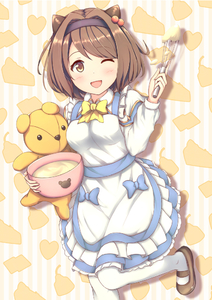 Rating: Safe Score: 1 Tags: 1girl ;d apron bangs batter blue_bow blush bow breasts brown_footwear brown_hair cowtits draph eyebrows_visible_through_hair granblue_fantasy hairband heart holding horns leg_up long_sleeves looking_at_viewer mary_janes medium_breasts mixing_bowl one_eye_closed open_mouth oppai_loli poru_(naasan) shoes silhouette smile solo standing striped striped_background stuffed_animal stuffed_toy swept_bangs teddy_bear vertical-striped_background vertical_stripes white_apron white_legwear yaia_(granblue_fantasy) yellow_bow User: DMSchmidt