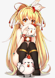 Rating: Safe Score: 2 Tags: 1girl animal_ears bandeau bangs bare_shoulders bird black_footwear blonde_hair blush blush_stickers boots bracelet chicken covering_mouth earrings eyebrows_visible_through_hair feathers full_body full_moon fur_trim granblue_fantasy grey_background hair_feathers healther highres holding jewellery long_hair looking_at_viewer mahira_(granblue_fantasy) moon pantsu pearl_bracelet red_eyes simple_background solid_circle_eyes solo squatting tareme tassel thigh_boots thighhighs underwear very_long_hair white_pantsu wristband User: Domestic_Importer