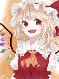 Rating: Safe Score: 0 Tags: 1girl :d ascot bangs blonde_hair blush crystal esatongi eyebrows_visible_through_hair fangs flandre_scarlet frilled_shirt_collar frills gradient gradient_background hat hat_ribbon heart long_hair looking_at_viewer mob_cap one_side_up open_mouth orange_background pointy_ears puffy_short_sleeves puffy_sleeves red_eyes red_ribbon red_vest ribbon shirt short_sleeves smile solo star touhou_project upper_body vest white_background white_hat white_shirt wings yellow_neckwear User: DMSchmidt