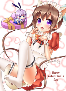 Rating: Safe Score: 2 Tags: 2girls :d absurdres alternate_costume animal_ears apron bangs blue_eyes blue_legwear blush bow box brown_hair cat_ears cat_girl cat_tail chibi closed_mouth derivative_work dress enmaided eyebrows_visible_through_hair fang gift gift_box hair_between_eyes hair_bow hair_ribbon happy_valentine headdress heart-shaped_box highres kemonomimi_mode long_hair looking_at_viewer maid maid_apron maid_headdress momochi_tamate multiple_girls no_shoes oooqqq open_mouth pantyhose puffy_short_sleeves puffy_sleeves purple_eyes purple_hair purple_ribbon red_dress ribbon sengoku_kamuri short_sleeves sidelocks slow_start smile tail thighhighs thighs twin_tails valentine white_apron white_bow white_legwear User: DMSchmidt