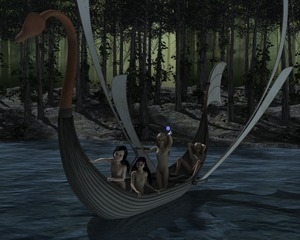 Rating: Questionable Score: 5 Tags: 3dcg 4girls barefoot black_hair blonde_hair  breasts flower_on_head forrest highres kneeling long_hair magic moonlight multiple_girls night nude photorealistic pubic_hair rape river self_upload sitting small_breasts small_nipples smile spread_legs standing swan_boat virginlover User: Virginlover