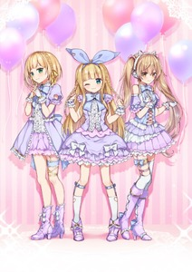 Rating: Safe Score: 4 Tags: 1boy 2girls ;) animal_ears asymmetrical_legwear balloon bangs bare_shoulders blue_ribbon blunt_bangs blush boots braid breasts bridal_gauntlets brown_eyes brown_hair cat_ear_headphones cat_ears center_frills crown_braid detached_sleeves eyebrows_visible_through_hair frills gloves green_eyes hair_between_eyes hair_ribbon hands_up head_tilt headphones heart heart_cutout high_heel_boots high_heels ienaga_mugi interlocked_fingers knee_boots kneehighs long_hair mononobe_alice multiple_girls nijisanji one_eye_closed otoko_no_ko pleated_skirt puffy_short_sleeves puffy_sleeves purple_footwear purple_skirt ribbon shirt short_sleeves side_braids skirt small_breasts smile standing suzuya_aki thighhighs thighhighs_under_boots twin_braids twin_tails very_long_hair virtual_youtuber white_gloves white_legwear white_shirt wrist_cuffs yamabukiiro User: DMSchmidt