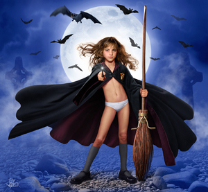 Rating: Explicit Score: 25 Tags: 1girl alex_(artist) artist_name bat broom brown_eyes brown_hair cape cross harry_potter highres long_hair looking_at_viewer moon night pantsu photorealistic shoes socks solo standing underwear wand User: editfag
