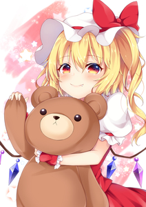 Rating: Safe Score: 1 Tags: 1girl absurdres bangs blonde_hair bow cowboy_shot crystal eyebrows_visible_through_hair fang flandre_scarlet hair_between_eyes hat hat_bow highres holding holding_stuffed_animal long_hair looking_at_viewer miy@ mob_cap one_side_up red_bow red_eyes red_skirt red_vest skirt skirt_set smile solo star stuffed_animal stuffed_toy teddy_bear touhou_project vest white_hat wings wrist_cuffs User: DMSchmidt