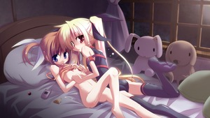 Rating: Questionable Score: 3 Tags: 2girls absurdres ass bardiche bed black_ribbon blonde_hair blue_eyes blush breasts brown_hair couple fate_testarossa hair_ornament highres kazekawa_nagi lying lyrical_nanoha mahou_shoujo_lyrical_nanoha mahou_shoujo_lyrical_nanoha_a's multiple_girls open_mouth phone raising_heart red_eyes ribbon short_twin_tails small_breasts stocking stuffed_animal stuffed_toy sweat takamachi_nanoha thighhighs toy twin_tails underboob wet white_ribbon window yuri User: Domestic_Importer