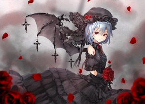 Rating: Safe Score: 0 Tags: 1girl adapted_costume alternate_colour bangs bare_shoulders black_dress black_flower black_gloves black_hat black_neckwear black_ribbon black_rose blue_hair bouquet breasts cross cross-laced_clothes detached_sleeves dress flower frilled_ribbon frills gloves grey_background hair_between_eyes hat hat_flower hat_ribbon holding holding_flower layered_dress looking_at_viewer mob_cap neck_ribbon petals puffy_short_sleeves puffy_sleeves red_eyes red_flower red_rose remilia_scarlet ribbon rose rose_petals shironeko_yuuki short_hair short_sleeves small_breasts solo touhou_project User: DMSchmidt