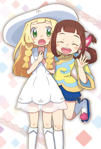 Rating: Safe Score: 0 Tags: 2girls :o ^_^ ^o^ bangs blonde_hair blunt_bangs blush braid brown_hair closed_eyes dress green_eyes hair_ornament hands_together happy hat lilia_(monster_hunter) lillie_(pokemon) long_hair long_sleeves looking_at_viewer monster_hunter monster_hunter_stories multiple_girls one_leg_raised open_mouth pokemon pokemon_(game) pokemon_sm puffy_shorts shorts simple_background sleeveless sleeveless_dress smile standing sun_hat twin_braids twin_tails waving white_background wide_sleeves yan_(sakura_mocchi) User: Domestic_Importer