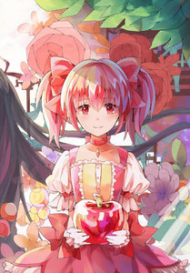 Rating: Safe Score: 0 Tags: 1girl apple bubble_skirt choker food fruit gloves hair_ribbon highres kaname_madoka looking_at_viewer magical_girl mahou_shoujo_madoka_magica pink_hair red_eyes ribbon short_hair short_twin_tails skirt smile solo tamaki_(more-bear) twin_tails white_gloves white_legwear User: DMSchmidt