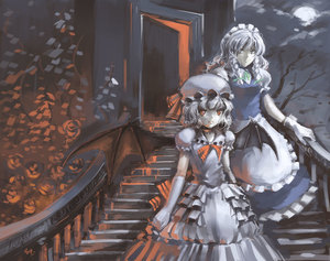 Rating: Safe Score: 1 Tags: 2girls alternate_costume bad_id bat_wings blood blueman braid cloud dress elbow_gloves gloves hat headdress highres izayoi_sakuya looking_at_viewer maid maid_headdress moon multiple_girls red_eyes remilia_scarlet short_hair silver_hair stairs touhou_project twin_braids wings User: DMSchmidt