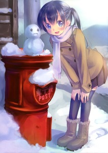 Rating: Safe Score: 0 Tags: 1girl absurdres black_hair black_legwear blue_eyes blush boots coat hands_on_knees hands_on_own_knees highres japanese_postal_mark leaning_forward long_hair looking_at_viewer open_mouth original postbox scan scarf skirt smile snow snowman solo takoyaki_(roast) thighhighs twin_tails zettai_ryouiki User: Domestic_Importer