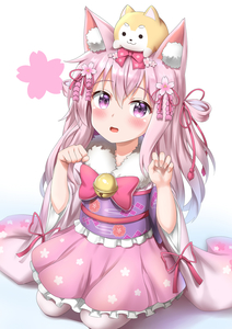 Rating: Safe Score: 1 Tags: 1girl :d absurdres animal animal_ears animal_on_head azur_lane bangs bell blush bow cat_ears cherry_blossom_hair_ornament claw_pose dog dog_on_head eyebrows_visible_through_hair flower frilled_skirt frills fur_collar hair_between_eyes hair_bow hair_flower hair_ornament hair_ribbon highres japanese_clothes jingle_bell kimono kisaragi_(azur_lane) long_hair long_sleeves looking_at_viewer nedia_(nedia_region) obi on_head open_mouth pantyhose paw_pose pink_bow pink_hair pink_kimono pink_ribbon pink_skirt purple_eyes ribbon sash seiza short_kimono simple_background sitting skirt smile solo two_side_up very_long_hair white_background white_legwear wide_sleeves User: DMSchmidt