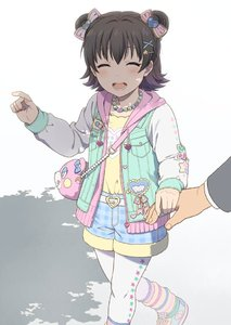 Rating: Safe Score: 0 Tags: 1boy 1girl akagi_miria animal_bag bag belt belt_buckle black_hair blush bow buckle closed_eyes double_bun drawstring fur_trim hair_bow hair_ornament hairclip heart heart_belt holding_hands idolmaster idolmaster_cinderella_girls idolmaster_cinderella_girls_starlight_stage jacket jewellery loose_socks mattaku_mousuke necklace open_clothes open_jacket open_mouth out_of_frame pantyhose pantyhose_under_shorts pointing producer_(idolmaster) shoes short_hair shorts shoulder_bag simple_background smile sneakers socks solo_focus star star_hair_ornament star_print striped striped_legwear tree_shade white_legwear User: Domestic_Importer