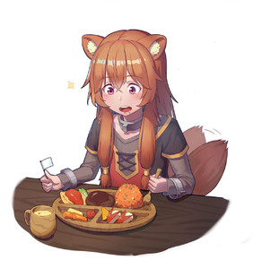 Rating: Safe Score: 2 Tags: 1girl absurdres animal_ears bangs brown_hair chun_zhuan collar crossed_bangs cup drink drooling eyebrows_visible_through_hair flag food fork grey_sweater hair_tubes highres long_hair long_sleeves looking_down open_mouth purple_eyes raccoon_ears raccoon_girl raccoon_tail raphtalia ribbed_sweater sidelocks solo sparkle sweater tail tail_wagging tate_no_yuusha_no_nariagari very_long_hair white_background User: DMSchmidt