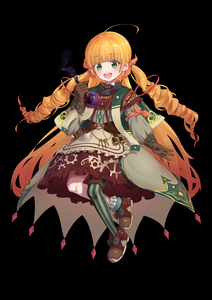 Rating: Safe Score: 2 Tags: 1girl :d absurdres ahoge apron asymmetrical_legwear bangs binoculars black_background blonde_hair blush brown_footwear brown_gloves brown_skirt capelet eyebrows_visible_through_hair frilled_apron frilled_skirt frills full_body gloves green_capelet green_eyes green_legwear grey_jacket hair_ribbon highres holding jacket long_hair long_sleeves open_mouth orange_ribbon original puffy_long_sleeves puffy_sleeves ribbon round_teeth shoes simple_background single_leg_pantyhose single_sock skirt smile socks solo striped striped_legwear teeth two_side_up upper_teeth vertical-striped_legwear vertical_stripes very_long_hair waist_apron wang_man white_apron User: DMSchmidt